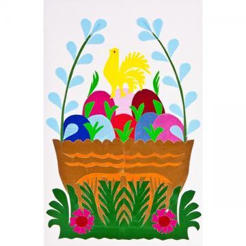Ręcznie robiona kartka świąteczna - Wielkanoc - wycinanka z pisankami w pomarańczowym koszyczku
