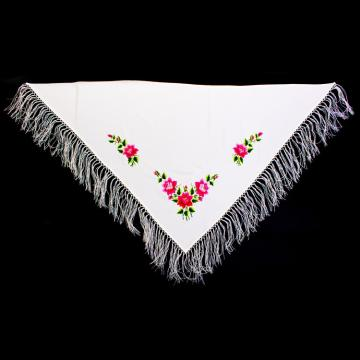 Piękna haftowana biała duża chusta na ślub