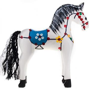 Tradycyjna zabawka ludowa - ręcznie rzeźbiony konik w ludowe wzory - duży - biały