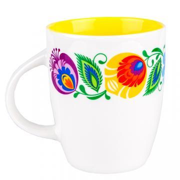 FOLK kubek Marysia - ludowe kwiaty łowickie | żółty