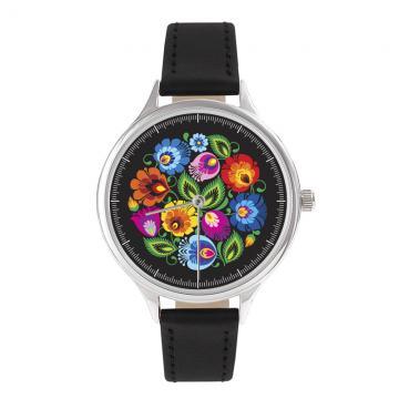 FOLK zegarek damski na skórzanym pasku - wzór łowicki czarny