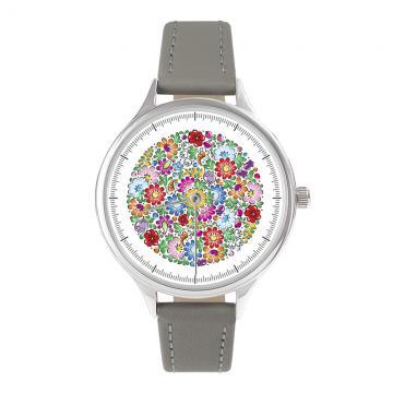 FOLK zegarek damski na skórzanym pasku - wzór opolski