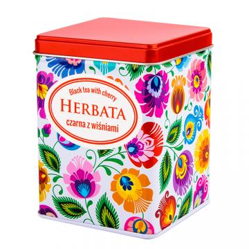 Herbata czarna z wiśniami w FOLK puszce - łowicka biała