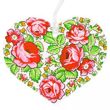 Kolorowa FOLK ozdoba - serce - góralskie białe