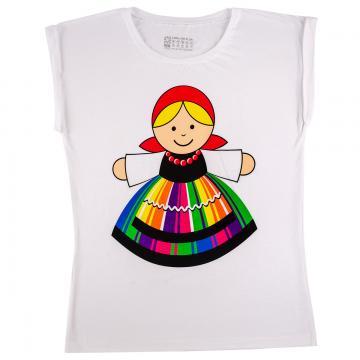 Koszulka FOLK damska biała - łowiczanka