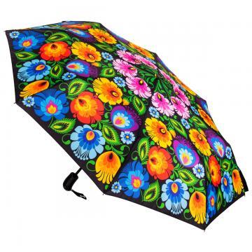 Mała składana folk parasolka - łowicka czarna