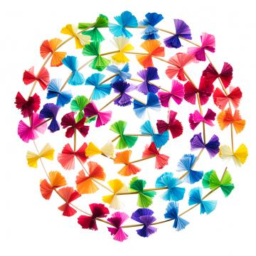Ozdoba choinkowa - kolorowy łańcuch na choinkę ze słomki i bibuły