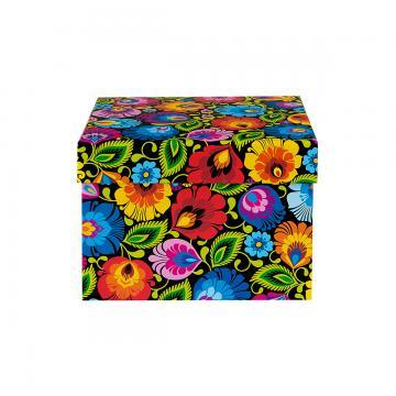 Ozdobne pudełko FOLK | 13 x 14 cm | małe kwadratowe – łowickie czarne