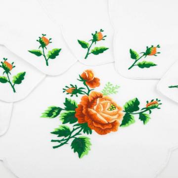 Ręcznie haftowany komplet – bieżnik 48 x 108 cm + 6 serwetek | pomarańczowa róża