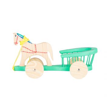 Tradycyjna zabawka ludowa - drewniana bryczka - zielona