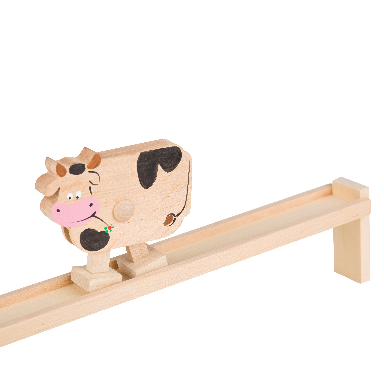 Eko zabawka - drewniana pochylnia ze zwierzątkiem