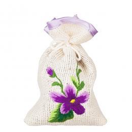 Ozdobny woreczek zapachowy z haftem ludowym - fiołki