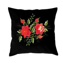 Czarna poduszka z haftem łowickim 35x35 cm - róże czerwone