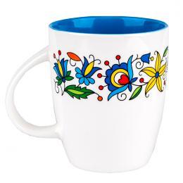 FOLK kubek Marysia - ludowe hafty kaszubskie | niebieski