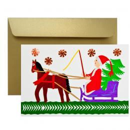 Ręcznie robiona kartka świąteczna - Boże Narodzenie - wycinanka MIKOŁAJ