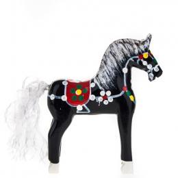 Tradycyjna zabawka ludowa - ręcznie rzeźbiony konik w ludowe wzory - mały - czarny