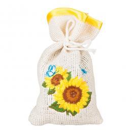 Ozdobny woreczek zapachowy z haftem ludowym - słoneczniki