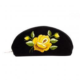 Haftowane etui na okulary - róża żółta