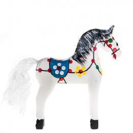 Tradycyjna zabawka ludowa - ręcznie rzeźbiony konik w ludowe wzory - mały - biały