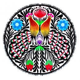 Kolorowa okrągła wycinanka z pawiami - rękodzieło ludowe