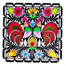 Wycinanka z kolorowymi kogutami - rękodzieło ludowe