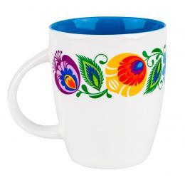 FOLK kubek Marysia - ludowe kwiaty łowickie | niebieski