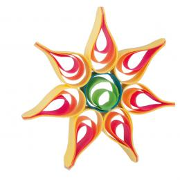 Kolorowa drewniana ozdoba choinkowa - duża gwiazdka