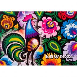 Pocztówka łowicka FOLK - łowicki kogut i kwiaty z wycinanki na czarnym tle