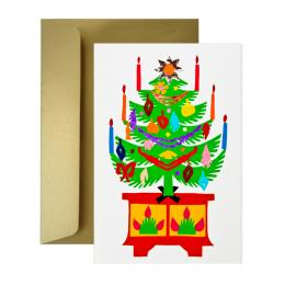 Ręcznie robiona kartka świąteczna - Boże Narodzenie - wycinanka CHOINKA