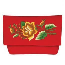 Czerwona aksamitna kopertówka z wzorem żółtej róży
