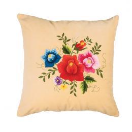 Kremowa poduszka z haftem łowickim 35x35 cm - róże kolorowe