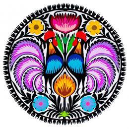 Tradycyjna wycinanka łowicka z wzorem ludowym - kolorowe koguty
