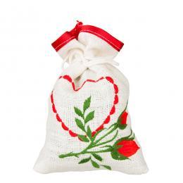 Ozdobny woreczek zapachowy z haftem ludowym - serce i kwiatek