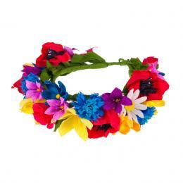 Tradycyjny wianek ludowy z kolorowych papierowych kwiatów