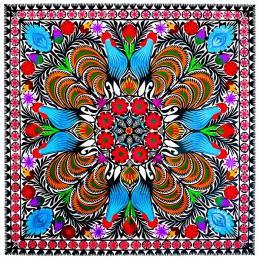 Duża wycinanka ludowa z kolorowym wzorem - sztuka ludowa