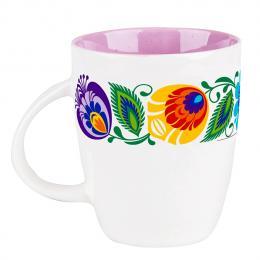 FOLK kubek Marysia - ludowe kwiaty łowickie | fioletowy