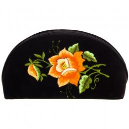 Haftowana duża folk kosmetyczka łowicka - róża pomarańczowa