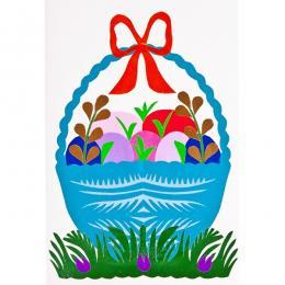 Ręcznie robiona kartka świąteczna - Wielkanoc - wycinanka z koszyczkiem niebieskim