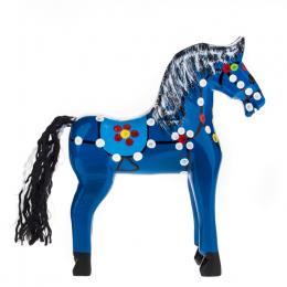 Tradycyjna zabawka ludowa - ręcznie rzeźbiony konik w ludowe wzory - średni - niebieski