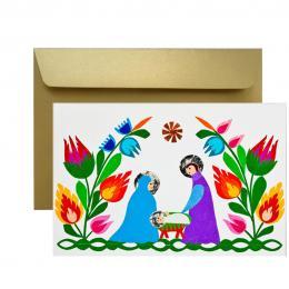 Ręcznie robiona kartka świąteczna - Boże Narodzenie - wycinanka ŚWIĘTA RODZINA w kwiatach
