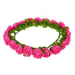 Tradycyjny wianek ludowy z papierowych różowych róż