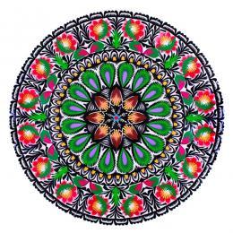 Duża okrągła wycinanka łowicka z wzorem kwiatowym - tradycyjne rękodzieło ludowe