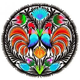 Wycinanka z motywem dwóch kogucików - tradycyjny wzór ludowy