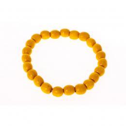 Bransoletka ludowa - żółte małe koraliki
