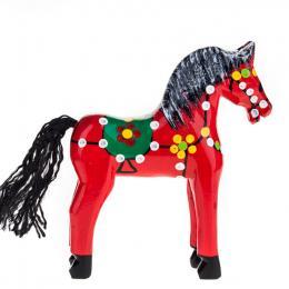 Tradycyjna zabawka ludowa - ręcznie rzeźbiony konik w ludowe wzory - średni - czerwony