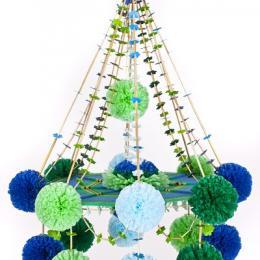 Pająk łowicki - rękodzieło ludowe - mały | niebiesko - zielone pączki