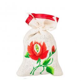 Ozdobny woreczek zapachowy z haftem ludowym - róża czerwona