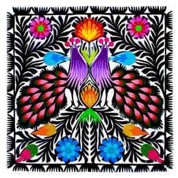 Piękna wycinanka z wzorem ludowym - dwa pawie