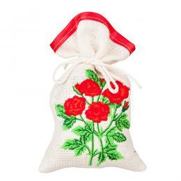 Ozdobny woreczek zapachowy z haftem ludowym - goździki czerwone