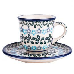 Filiżanka espresso - ceramika Bolesławiec - rozeta kwiatowa